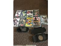 Psp with case, charger, 10 games in cases and 9 without cases