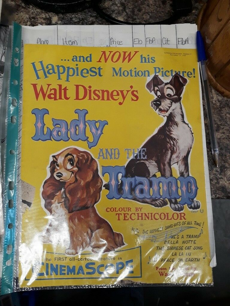 Lady and the Tramp film advertisement page - vintage collectible ephemera. Movie