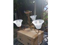 3 light antique brass chandelier