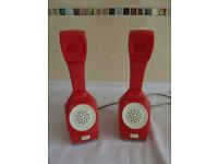 Vintage 1970s PAIR RED KANTO GOSEI KOGYO TELEPHONE/INTERCOM PAIR