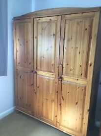 Pine triple wardrobe and chest of drawers