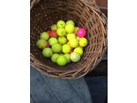 50+ yellow and coloured golf balls various makes