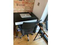 Used office desk and swivel chair