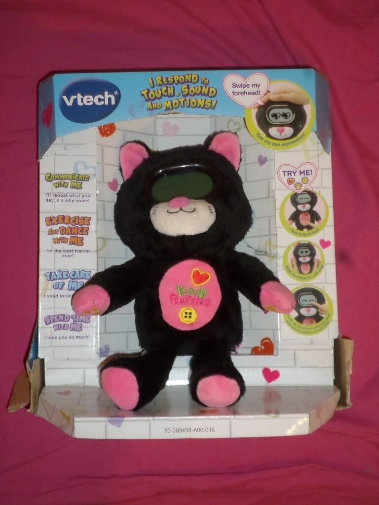 Vtech Kidifluffies Cat Cuddly Toy New with cosmetic dirt and damaged box Bargainin Lambeth, LondonGumtree - Brand New As you can see its working Damaged Box Item is NOT sealed so the item has unfortunately attracted dirt in some areas Kidifluffie responds to motions, sound and touch Play 3 sport games and 3 fun games, feed and spend time with your...