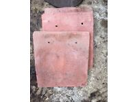 Antique red redland clay roof tiles: 3 tiles, each one measures 17cm by 19cm