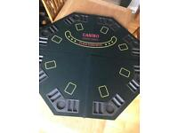 Poker table top and poker chips