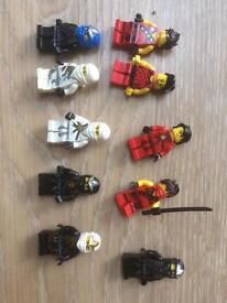 10 lego ninjago figures 3x Kai 4x cole. 2x zane. 1x girl