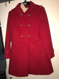 monsoon red coat 12-13 yrs