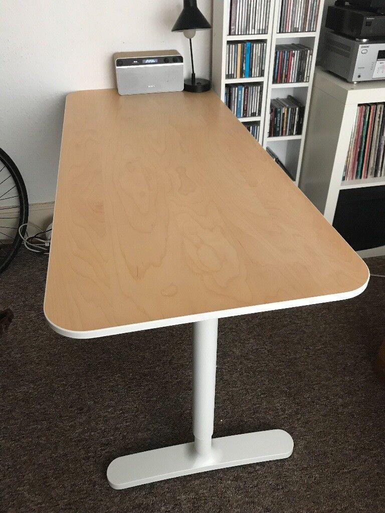 Ikea Bekant Office Desk Birch Veneer White