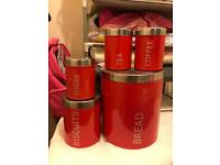 Red kitchen cans