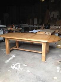 Solid oak dining table extends to nine foot only£450
