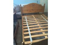 Solid Pine Double Bed With Mattress Headboard H41in/104cmW57in/140cmL80.5in/204cm