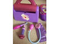Doc mcstuffin bag and medical toys