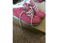 Pink kids timberlands