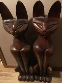 Pair Hand carved wooden Sphinx Cats 37 Inches Tall Heavy Solid Wood