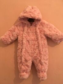 Pink 0-3 months fluffy/furry pramsuit