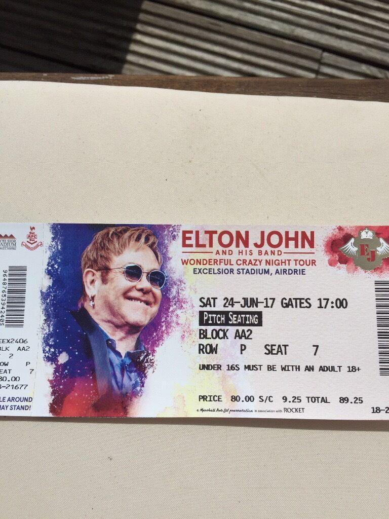 Elton John Tickets x 2 Airdrie - **FRONT ROW BLOCK - FANTASTIC SEATS** £70 each