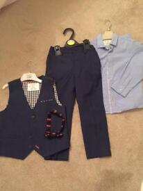 Boys 3 Piece Navy Suit with Bow Tie from Next