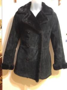 Ladies BLACK SUEDE WINTER COAT Lined with black fur  M 8 10 Excellent Condition Womens Sexy very cozy warmest Jacket