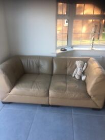 Modern 2/3 seater leather sofa and 2 matching stools