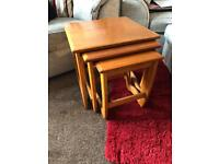 Nest of 3 wooden tables