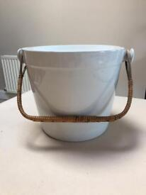 Antique Ceramic pail with wicker handle. Slight chip on lid edge as seen in photo.