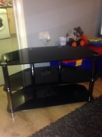 Black glass and chrome tv corner stand