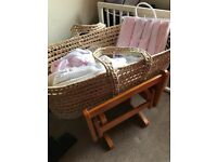 ***BARGAIN*** John lewis moses basket stand and bedding