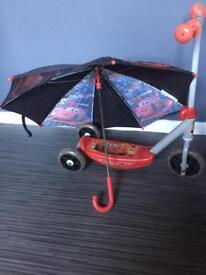 Disney cars scooter and umbrella