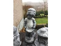 Large shy girl stone garden ornament 20 inches tall