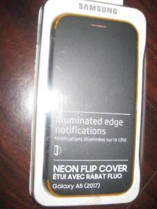 Samsung Galaxy A5 (2017) Neon Flip Cover Smart Case / Cover. Stylish Design. illuminate edge. Protect Phone. Camera. NEW
