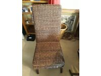 6 rattan on wood dining chairs