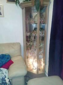 Light oak glass corner cabinet