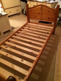 JOHN LEWIS HONEY GLAZED PINE BED WITH HEAD AND FOOT BOARDS. GOOD CONDITION