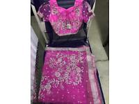 Brand NEW pink net saree with diamanté stonework embroidery