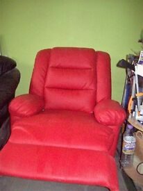 RELAXING BEAUTIFUL CPRI RECLINER RED CHAIR IN REAL BONDED LEATHER ....AS NEW