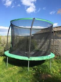 Nearly new 10ft trampoline with flash zone and basketball hoop