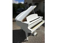 White Challen Baby Grand Piano | Belfast Pianos.