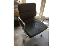 Eames Style Leather Low Back Soft Pad Office Chair black