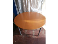 Round heavy duty table/ desk Birch finish (Delivery)
