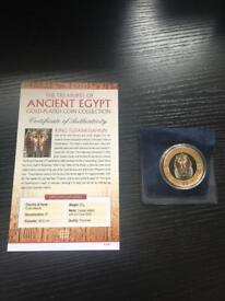 Ancient Egypt 1 Dollar 24 carat gold coin tutankhamun