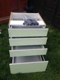 600mm White 4 draw wren kitchen unit