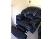 Real Leather Sofa Suite For Sale [Includes Recliner] - Very Good Condition