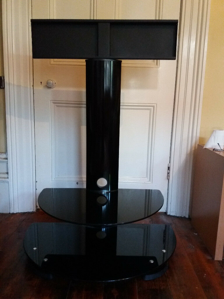 A Black Metal And Glass Tv Stand For Sale For Lcd Led Tv 32  # Table Tv En Coin