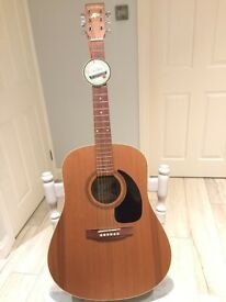 Art & Guthrie acoustic guitar, hard case and stand