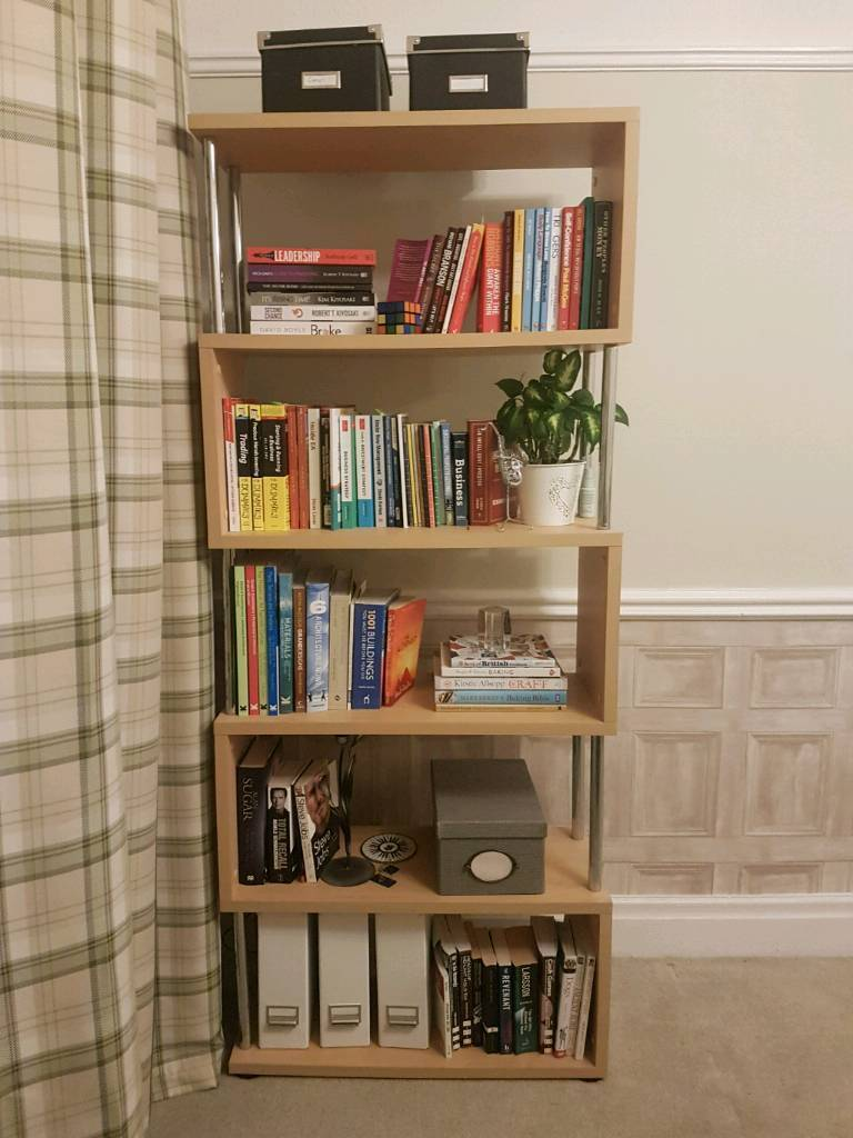 Beech and chrome bookcase