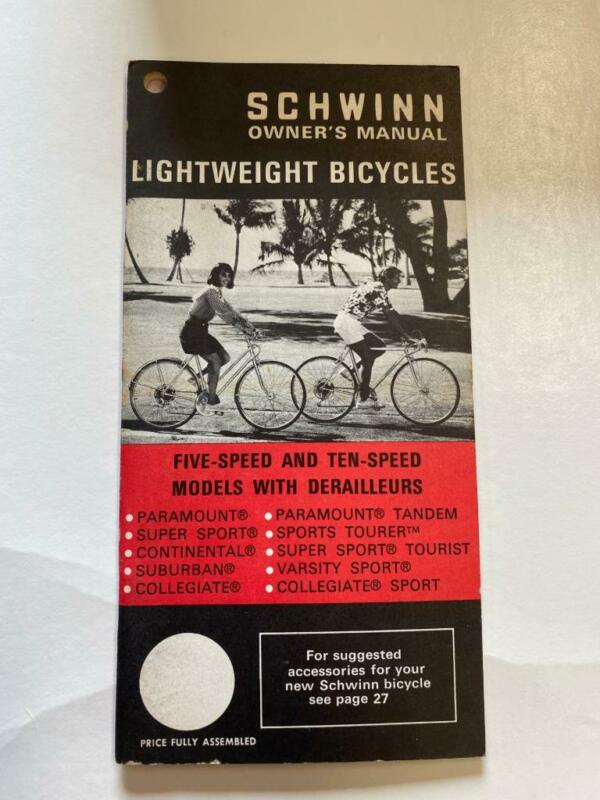 1971 Schwinn Lightweight Bicycles PARAMOUNT and Others Bicycle OWNERS MANUAL