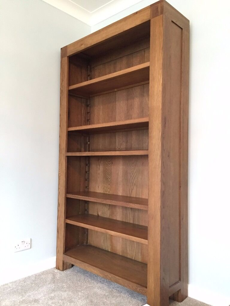 Real Solid Oak Wood Tall Bookcase For 299