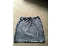 Charcoal denim mini skirt, size 10