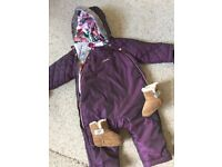 Snow suit Ted Baker worn twice 9-12 months and ugg boots size 2